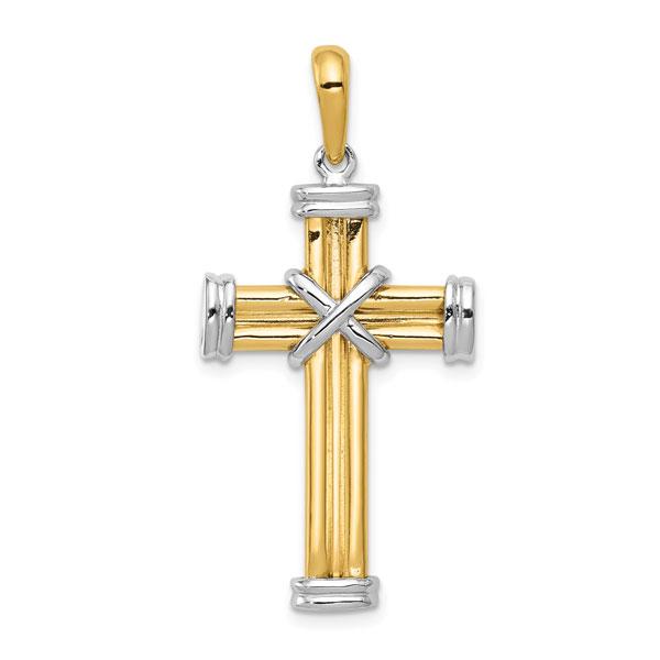 Men's Designer 14K Two-Tone Gold Cross Pendant Necklace