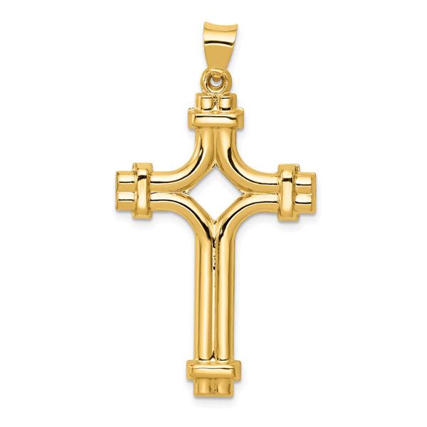 Men's Designer Cross Pendant, 14K Yellow Gold
