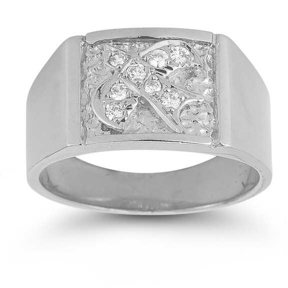 Christian Dove Diamond Holy Spirit Ring in 14K White Gold