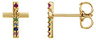 Multi-Color Gemstone Cross Earrings, 14K Gold