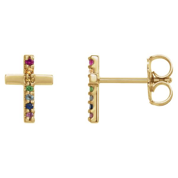 Multi-Color Gemstone Cross Earrings, 14K Gold
