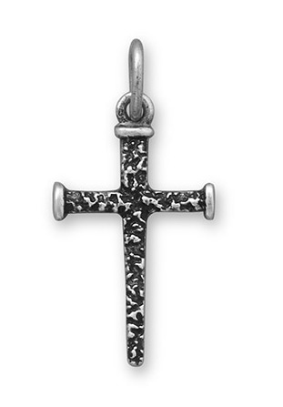 Oxidized Cross of Nails Pendant, Sterling Silver