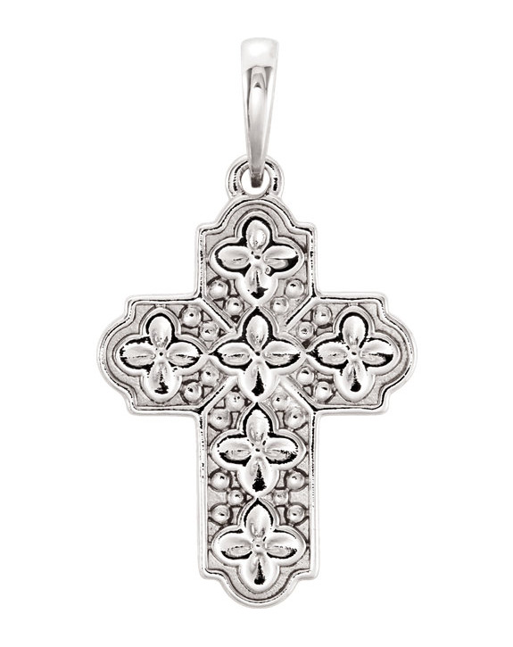 Small Ornate Floral Cross Pendant in 14K White Gold