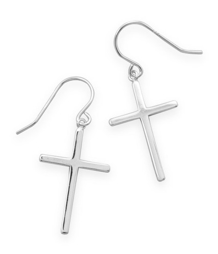Polished Christian Cross Drop Earrings