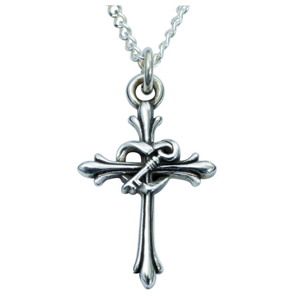 Purity Cross Necklace with Heart and Key, Sterling Silver