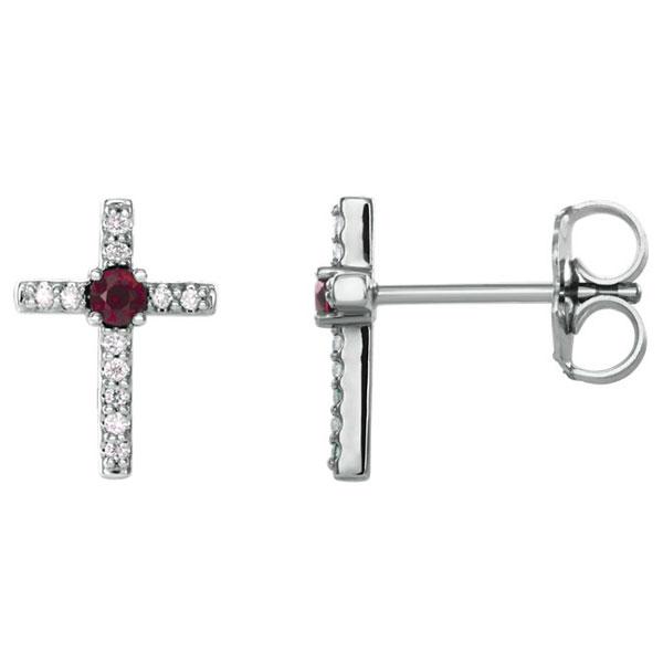Red Ruby and Diamond Cross Stud Earrings, 14K White Gold