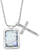 Roman Glass Pendant with Cross Necklace, Sterling Silver