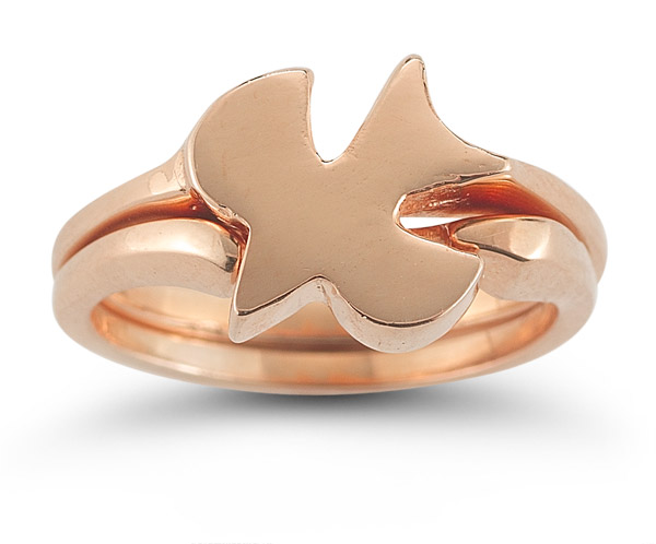 Christian Dove Bridal Ring Set in 14K Rose Gold