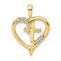 small 14k gold diamond heart cross pendant