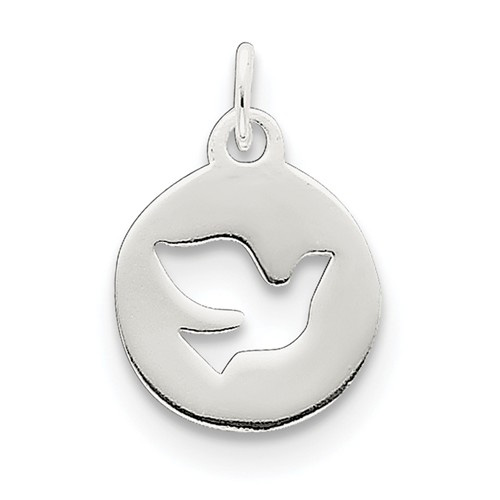 Small Silver Holy Spirit Dove Circle Pendant