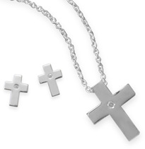 Diamond Solitaire Christian Cross Necklace and Stud Earrings Set