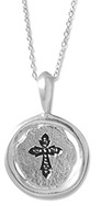 Stamped Christian Cross Disc Necklace, Sterling Silver