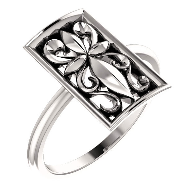 Vintage-Style Christian Cross Ring in 14K White Gold