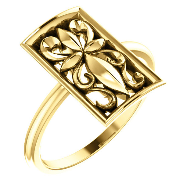 Vintage-Style Christian Cross Ring, 14K Yellow Gold