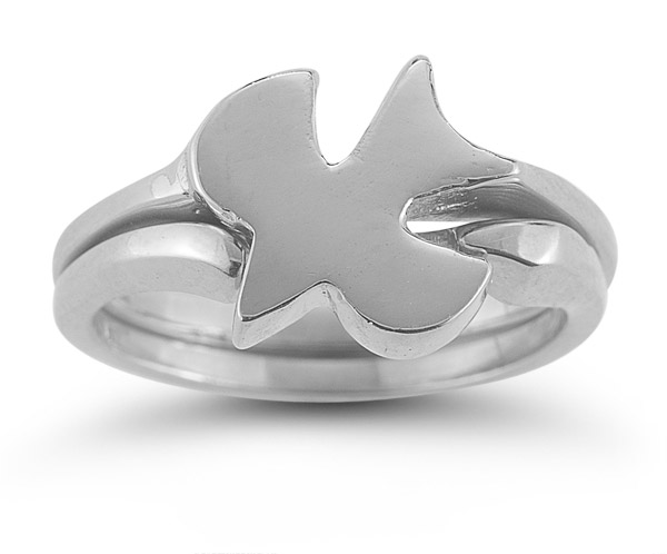 Christian Dove Bridal Wedding Ring Set in 14K White Gold