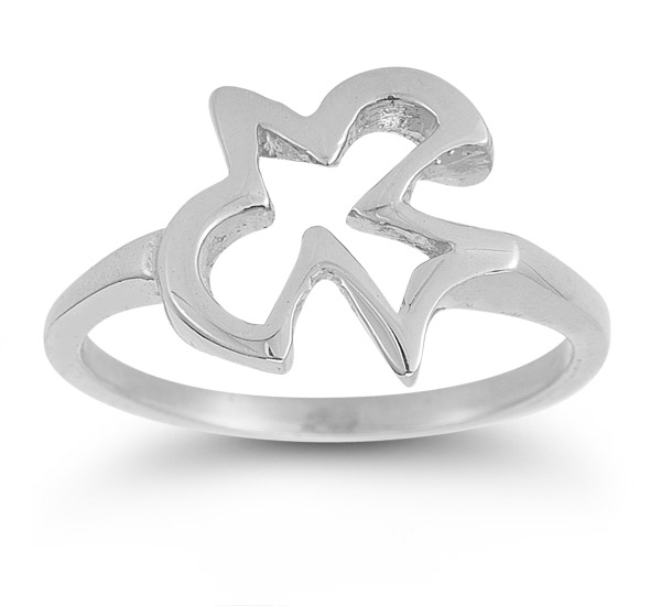 Christian Dove Ring in 14K White Gold