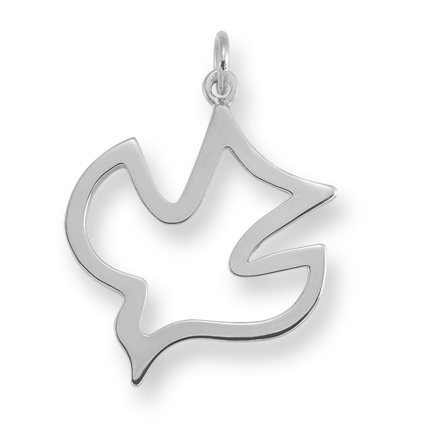 Christian Dove Holy Spirit Pendant in 14K White Gold