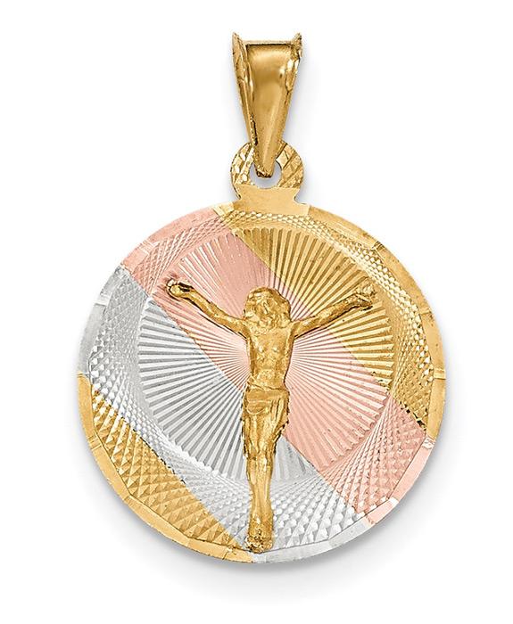 Women's 14K Gold Tri-Color Corpus Christi Circle Necklace