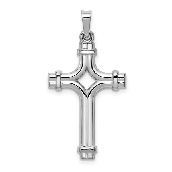 14K White Gold Women's Designer Cross Pendant Necklace