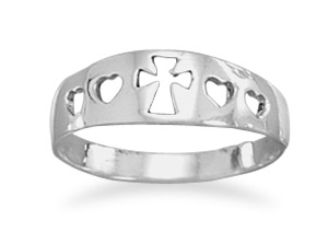 Women's Cross and Heart Ring in Sterling Silver