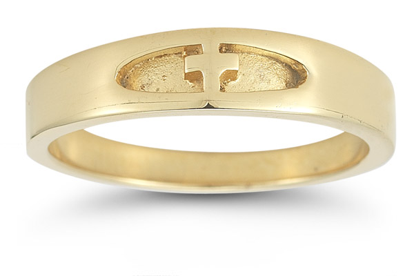 Women's Christian Cross Ring in 14K Yellow Gold