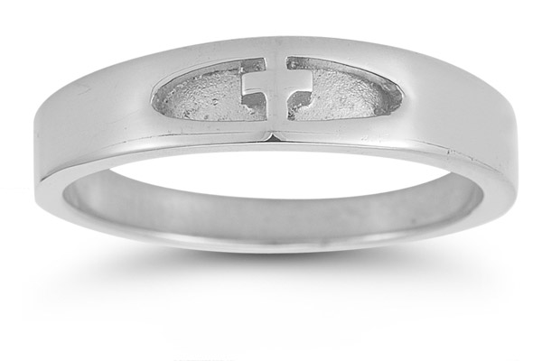 Women's Christian Cross Ring in 14K White Gold