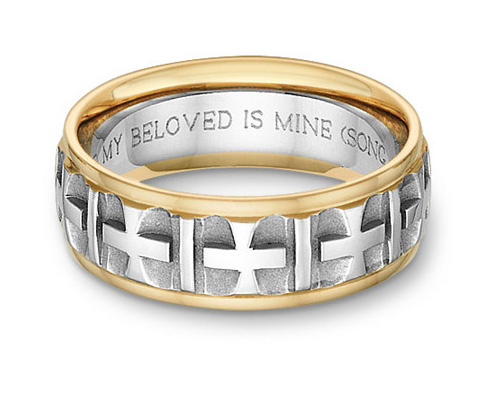 Ancient Cross Bible Verse Wedding Band Ring