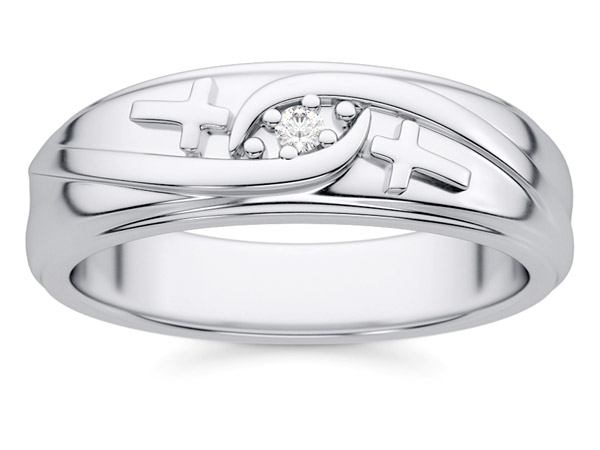 Men's Diamond Cross Wedding Band in White Gold
