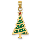 14K Gold Enameled Christmas Tree Pendant