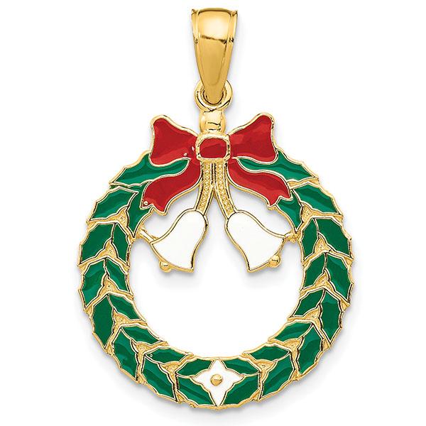 14K Gold Enameled Christmas Wreath Pendant