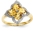 Citrine Flower and Diamond Ring, 14K Gold