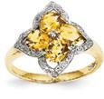 Citrine Flower and Diamond Ring, 14K Gold