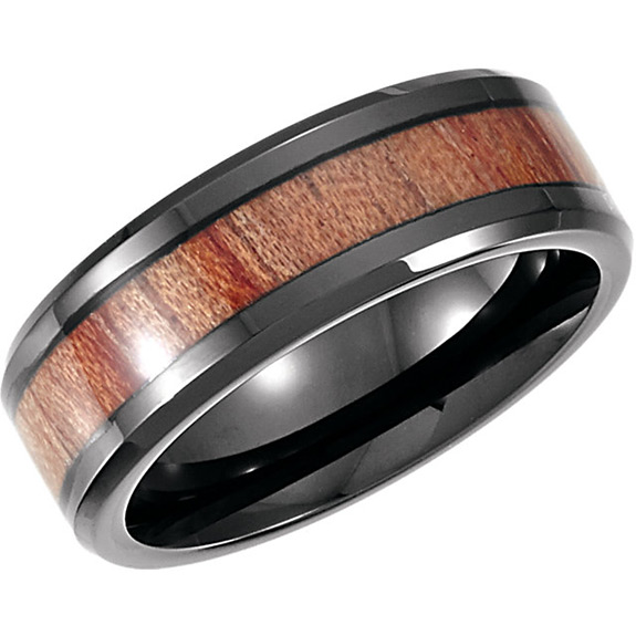 Black Cobalt Wedding Band Ring with Rosewood Inlay for Men