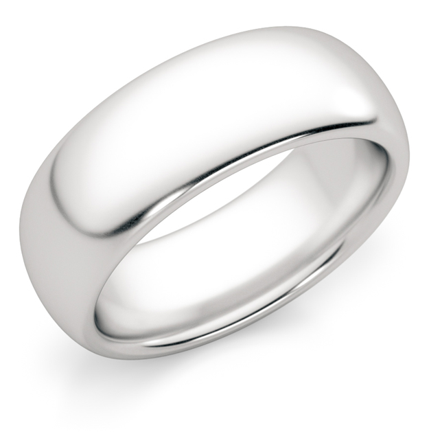 7mm Comfort Fit White Gold Wedding Band Ring