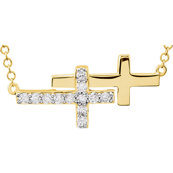 Double Diamond Sideways Cross Necklace, 14K Yellow Gold