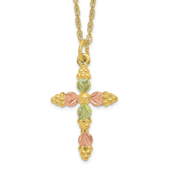 10K Tri-Color Black Hills Gold Cross Necklace for Women