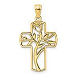 14k gold cut-out flower cross pendant for women