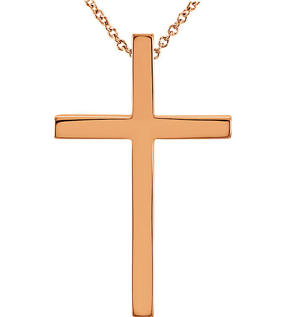 Women's 14k Rose Gold Cross Necklace with Hidden Bale