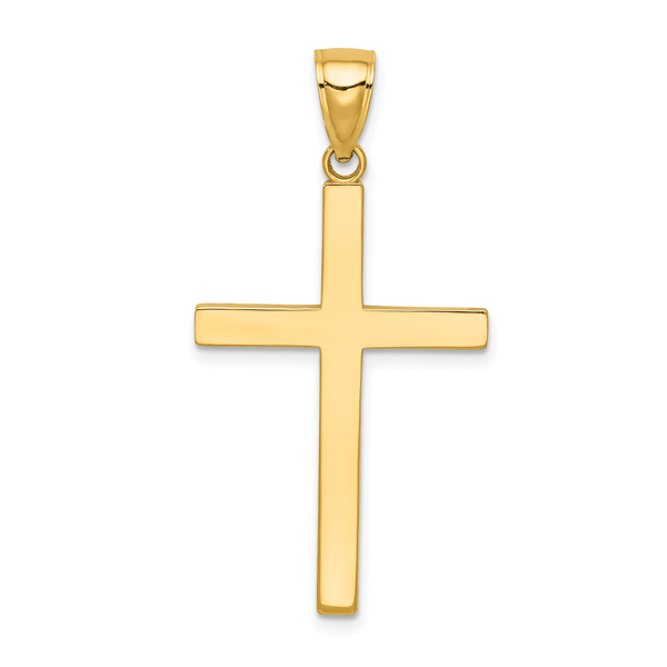 14K Solid Gold Men's Cross Necklace