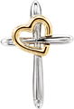 14K Two-Tone Gold Heart With Cross Necklace