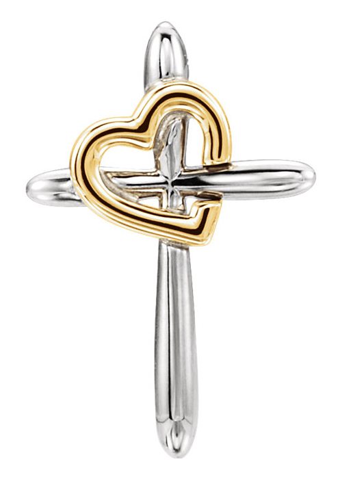 Two-Tone Gold Heart With Cross Pendant