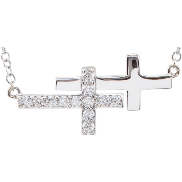 14K White Gold Double Diamond Sideways Cross Necklace