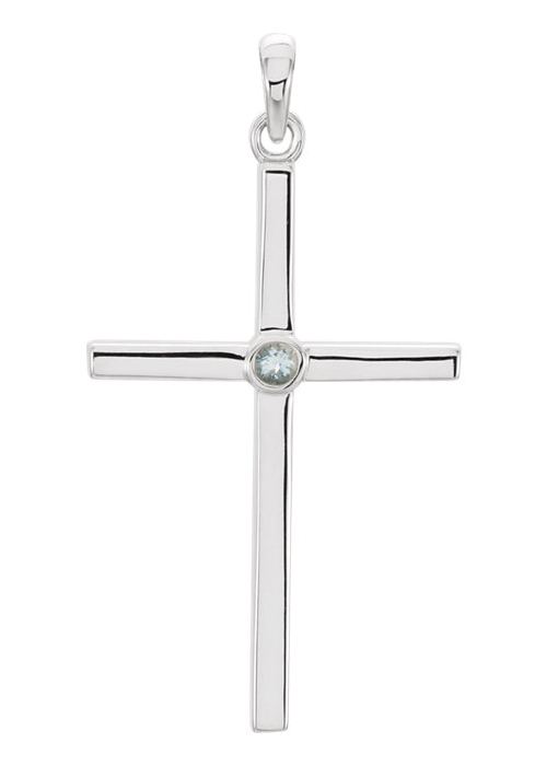 Aquamarine Solitaire Cross Necklace, 14K White Gold