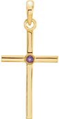 Bezel-Set Amethyst Cross Pendant, 14K Gold