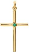 Bezel-Set Emerald Cross Pendant, 14K Gold
