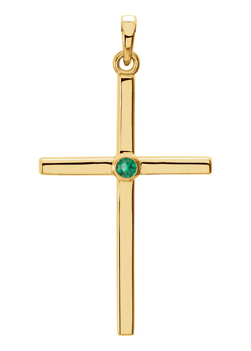 Bezel-Set Emerald Cross Pendant, 14K Gold