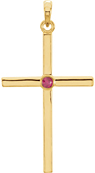 Bezel-Set Ruby Cross Pendant, 14K Gold