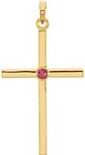 Bezel-Set Ruby Cross Pendant, 14K Gold