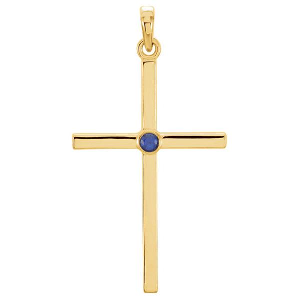 Bezel-Set Sapphire Cross Pendant, 14K Gold