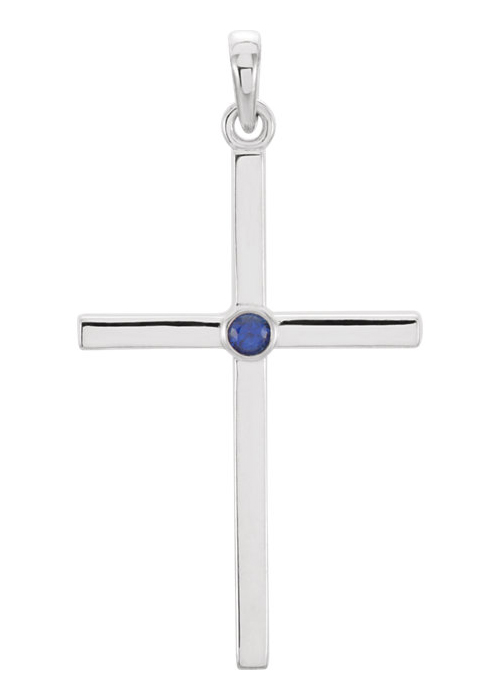 Blue Sapphire Solitaire Cross Necklace, 14K White Gold